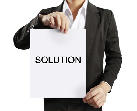businessman suit: blank sheet of paper in businessman hand