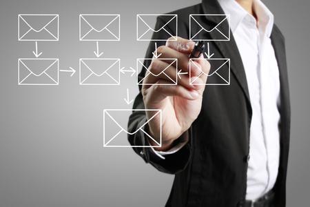 kết cấu: Business man vẽ cấu trúc mạng xã hội Kho ảnh