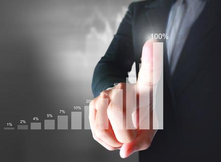 financial symbols: Businessman with financial symbols coming Stock Photo