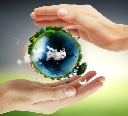 glowing earth: Globe ,earth in human hand, hand holding our planet earth glowing. Earth image provided by Nasa Stock Photo