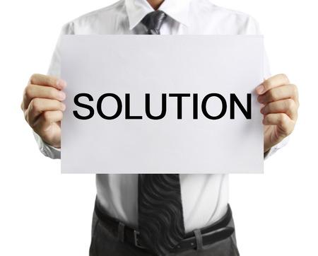 hoja en blanco: blank sheet of paper in businessman hand
