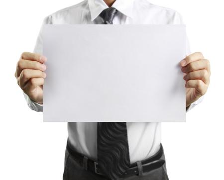 hoja de papel en blanco en la mano hombre de negocios