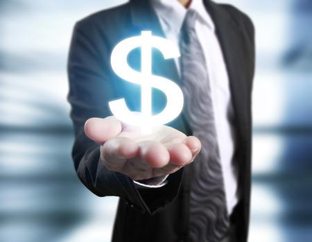 Money icon in hand, money concept Stock Photo