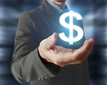 money concept: Money icon in hand, money concept Stock Photo