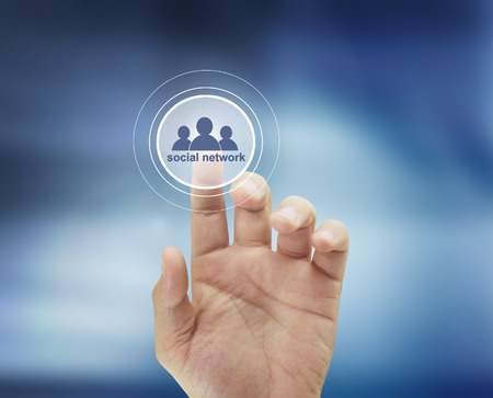 Hand touch virtual icon social network Stock Photo