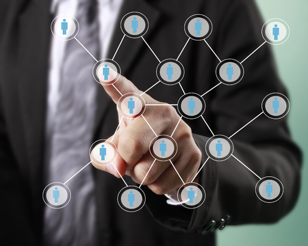 man profile: Hand touch virtual icon of social network