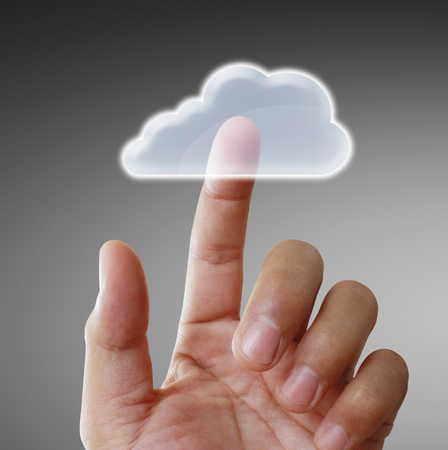 Hand touch virtual icon of social network Standard-Bild - 111291662