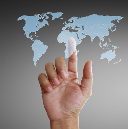 Hand touch virtual icon of social network Standard-Bild - 111291659