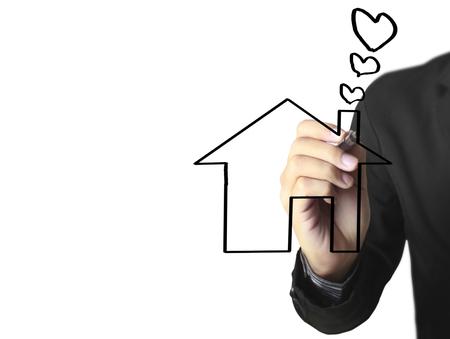 Hand drawing a house Standard-Bild - 109224557