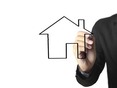 Hand drawing a house Standard-Bild - 109224561