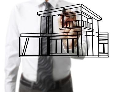 Hand drawing a house Standard-Bild - 109224558