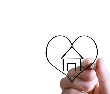 Hand drawing a house Standard-Bild - 109224360