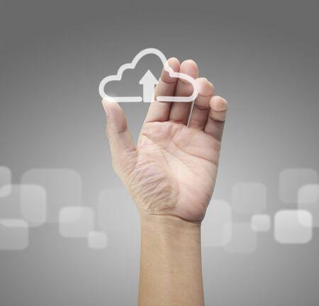 Handen aanraken knop scherm interface wereldwijde verbinding klant netwerken gegevensuitwisselingen Stockfoto