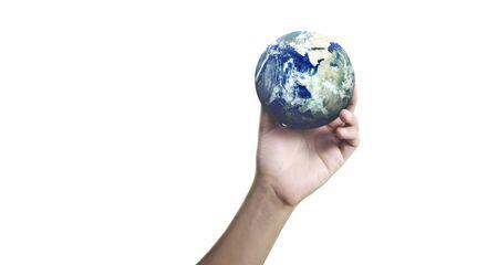 Glass globe in hand, Energy saving concept