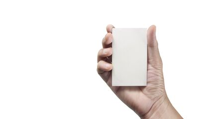 Hand holding a virtual card with your. Isolated