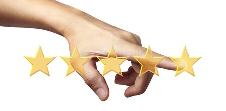 Hand of touching rise on increasing five stars. Imagens