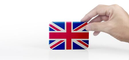 Hand holding English flag. flag in a hand