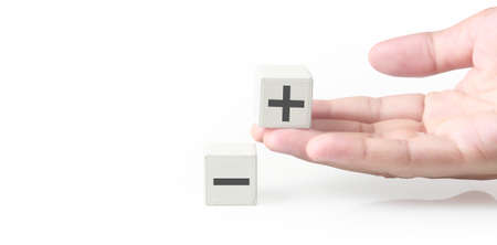 Concept creative idea and innovation. Cube block in hand with symbol