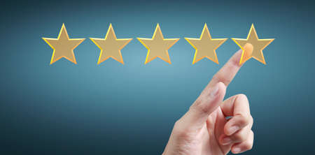 Rise on increasing five stars. Increase rating evaluation and classification concept and hand