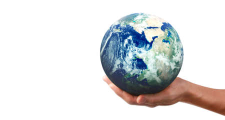 Globe ,earth in human hand, holding our planet glowing. 版權商用圖片 - 156661487