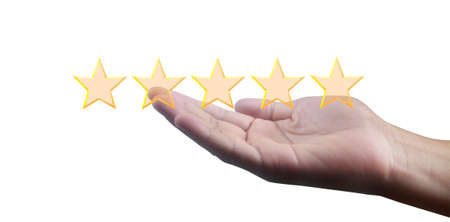 Increasing five stars. Increase rating evaluation and classification concept 版權商用圖片 - 157371312