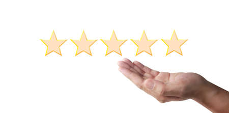 Increasing five stars. Increase rating evaluation and classification concept 版權商用圖片 - 157371415