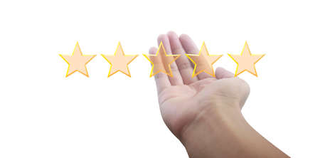 Increasing five stars. Increase rating evaluation and classification concept 版權商用圖片