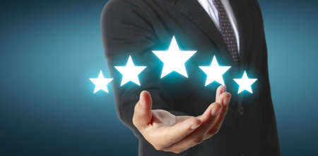Rise on increasing five stars in human hand, Increase rating evaluation classification concept