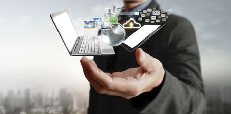 Technology tech devices connected to each other in a hands