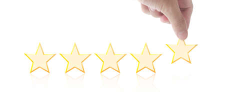 Five stars in hand. Increase rating evaluation and classification concept