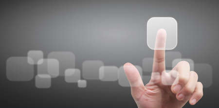 Hands touching button screen interface global connection customer networking data exchanges