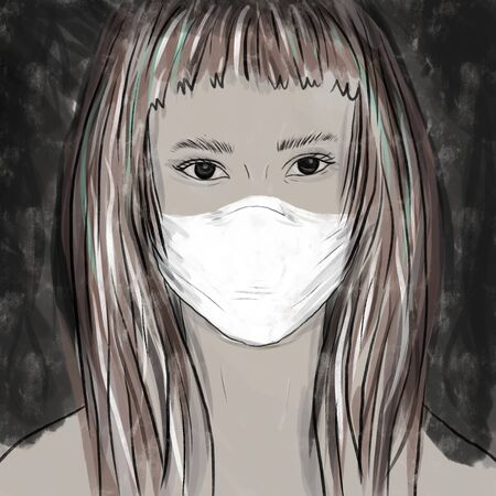 girl with mask on the dark background