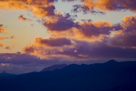 Sunset on landscape in Sicily, Mount Etna. Imagens