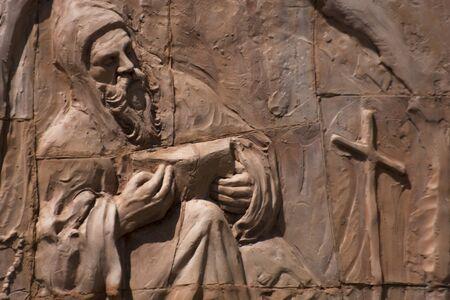 Old sculpture on brick wall Italy - Fortunato Violi Sculpture
