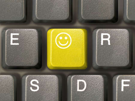Keyboard (closeup) with Smile key (yellow) Stock Photo - 769157