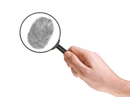 Fingerprint and magnifying glass in hand, isolated on white Stock Photo - 809595