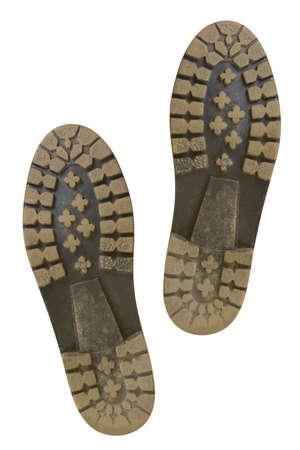Bottom von Schuhen, isoliert auf weißem Hintergrund