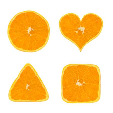 Formen der orange Früchte, isoliert auf weißem Hintergrund  Standard-Bild