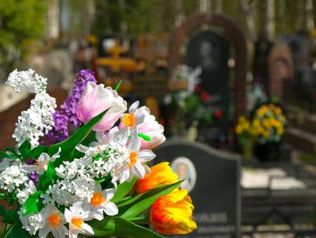 Flores y cementerio a fondo