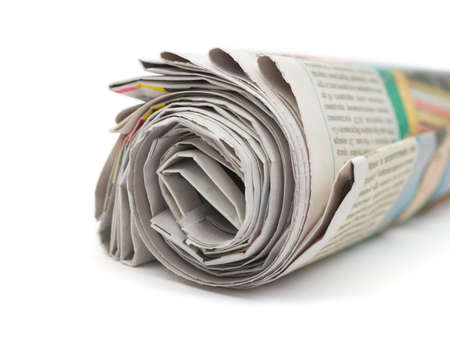 Roll of newspapers isolated on white background Stock Photo - 3174217