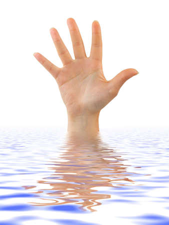 Hand in water isolated on white background
