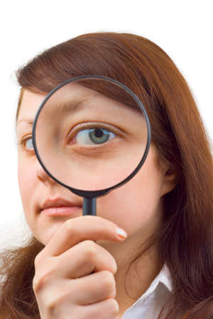 Eye and magnifying glass isolated on white background photo