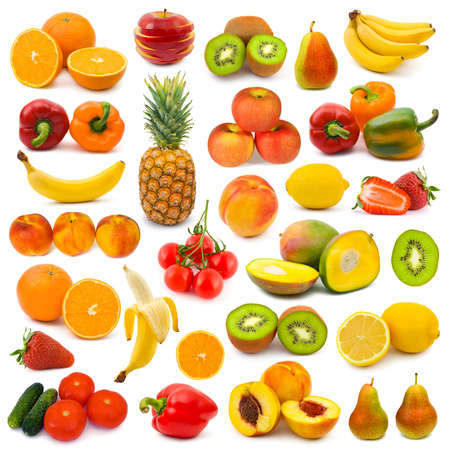 mango fruta: Conjunto de frutas y verduras aislados sobre fondo blanco