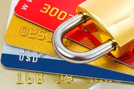 Kreditkarten und Sperre, Business-Sicherheit-Hintergrund  Lizenzfreie Bilder