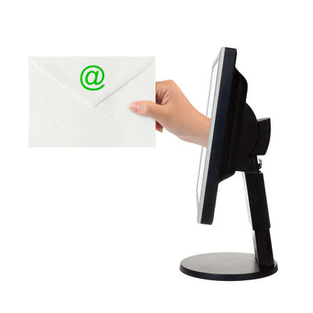 Computer screen and hand with letter isolated on white background Stock Photo - 4129734