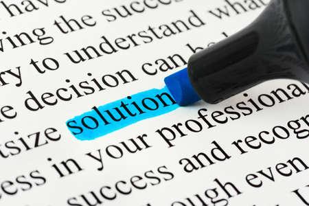 L�sung der Textmarker und Wort - Konzept-Business-Hintergrund