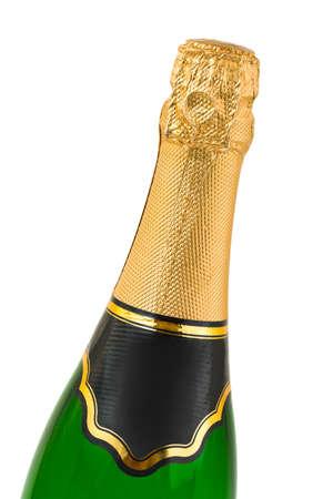 Macro of champagne bottle isolated on white background photo