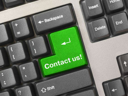 Computer keyboard - green key Contact us, business background photo