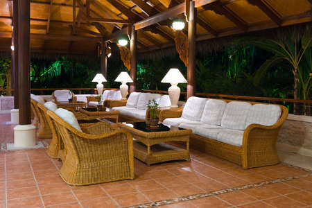 Interior of tropical hotel lobby, travel background photo
