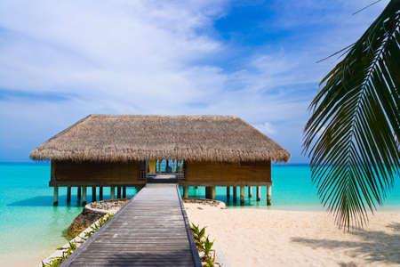 Spa salon on beach of tropical island, healthcare background photo